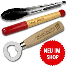 Neu im Shop - Gravurprodukte - Grillzange, Feuerzeug, Flachmann Set, Taschenlampen und Isolierflaschen mit Wunschgravur online kaufen