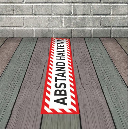 Fußbodenaufkleber ABSTAND HALTEN! 50x10 cm