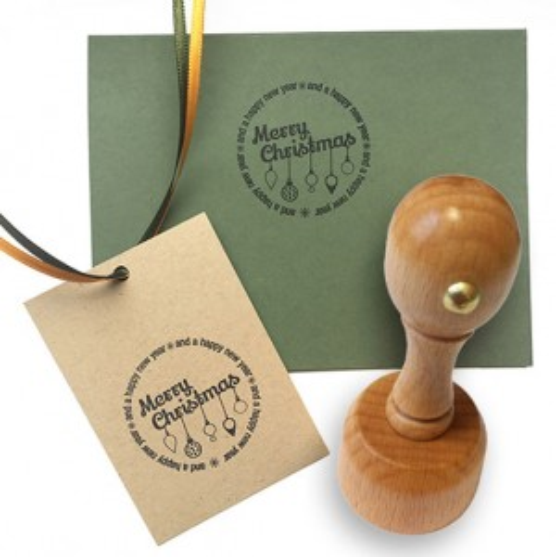 Kreativstempel aus Holz mit Weihnachtsmotiv rund