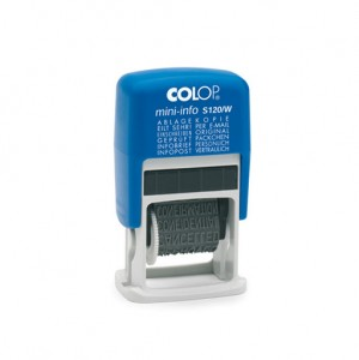 Colop Mini Info S120/W Wortbandstempel 4mm mit 12 Standardtexten  SCHWARZ