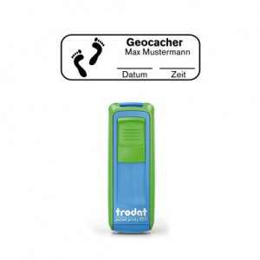 Mobile Printy 9511 Geocachingstempel Motiv Fußspuren m. Rahmen GRÜN BLAU