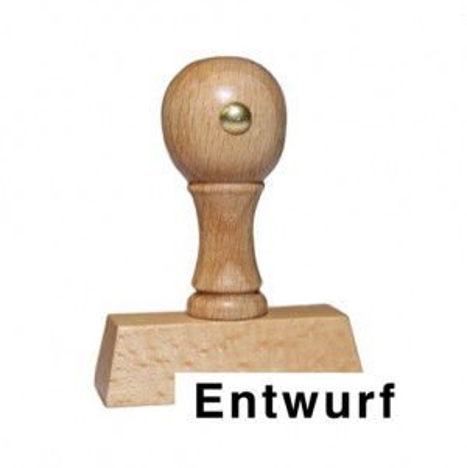 Holzstempel mit Text: Entwurf