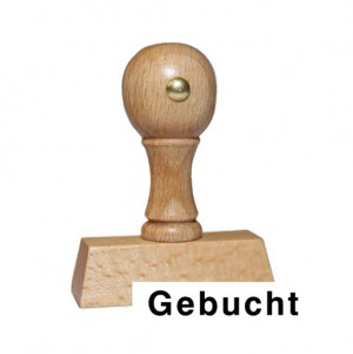Holzstempel mit Text: Gebucht