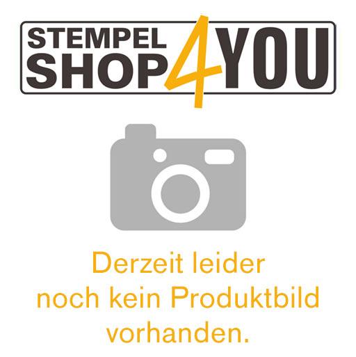 Holzstempel mit Text: Zweitschrift