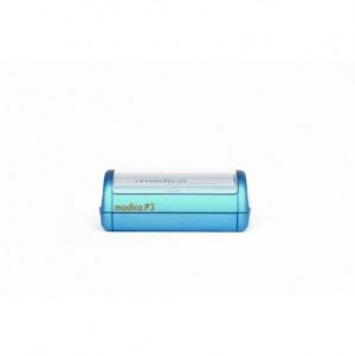 Modico P3 Taschenstempel mit Textplatte 49 x 15 mm bis 4 Zeilen Text BLAU BLAU