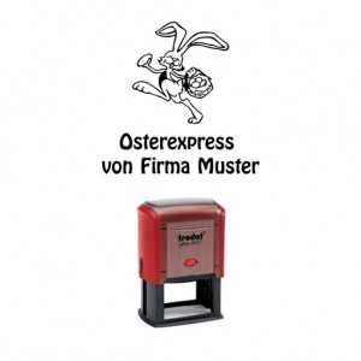 Trodat Printer 4927 Osterexpress Hase m. Korb ROT BLAU