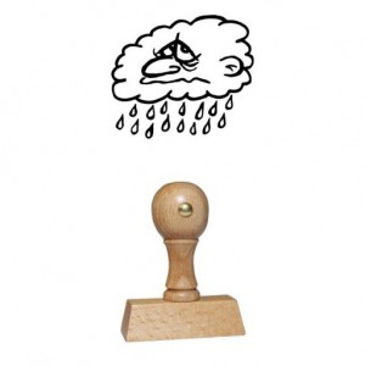 Holz Motivstempel Motiv Q23 Regenwolke
