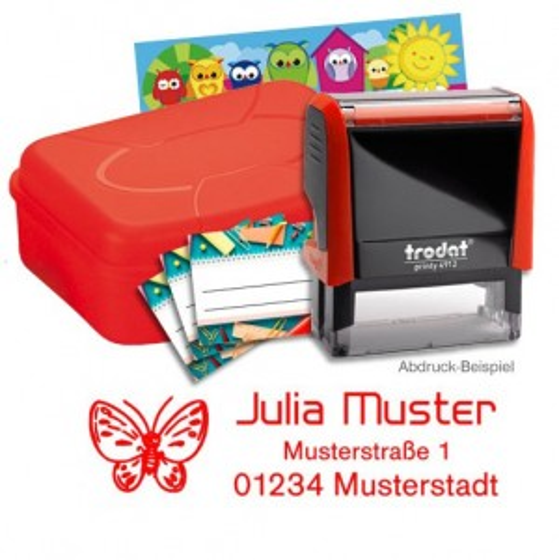 Schulstempel-Set rot Brotbox mit Printy 4912, Aufkleber, Stundenplan  BLAU