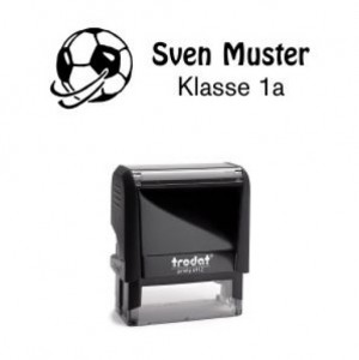 Trodat Printy 4912 individueller Schulstempel Nr. 17 Fußball SCHWARZ BLAU