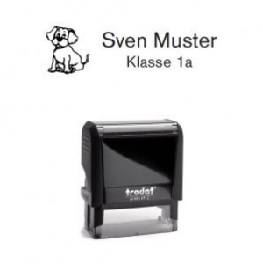 Trodat Printy 4912 individueller Schulstempel Nr. 22 Hund SCHWARZ BLAU