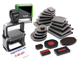 Ersatz Stempelkissen für selbstfärbende Stempel online bestellen - z.B. Trodat Professional, Printy, Colop Expert, Printer, zweifarbige Datumstempel oder Ziffernstempel