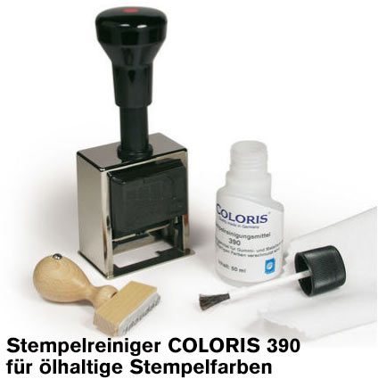Coloris Stempelreiniger 390 50 ml für ölhaltige Stempelfarben, Metallstempel