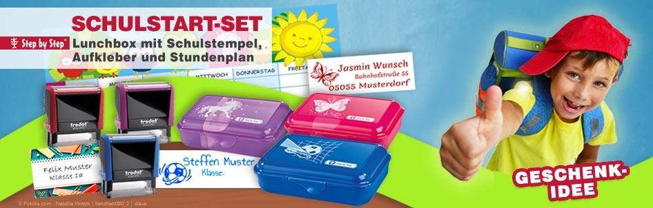 Schulbox Aktion - Lunchbox mit Schulstempel Motiv und individuellem Text
