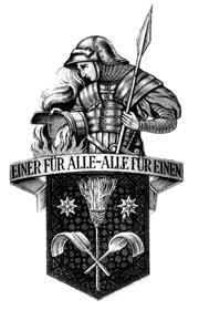 Das alte Wappen der Schornsteinfeger mit dem Heiligen Florian