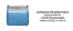 Modico Stempel Flash 3 für Adressen bis 4 Zeilen Text, Abdruckgröße 49x15 mm