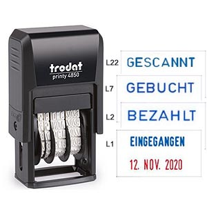 Posteingangsstempel Trodat Printy 4850/L Datumstempel mit Text